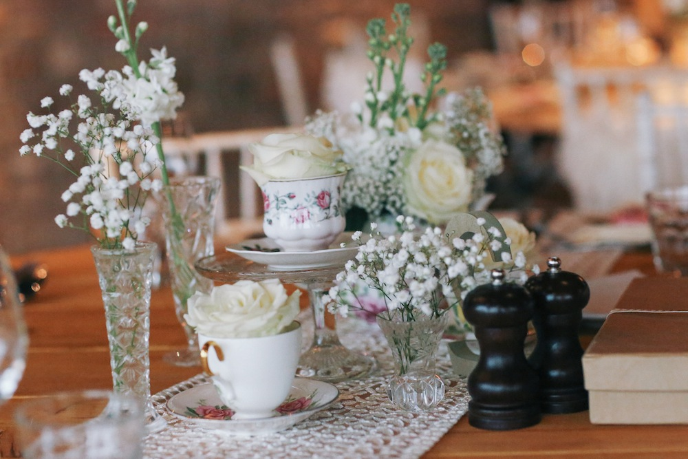 Vintage wedding table arrangement